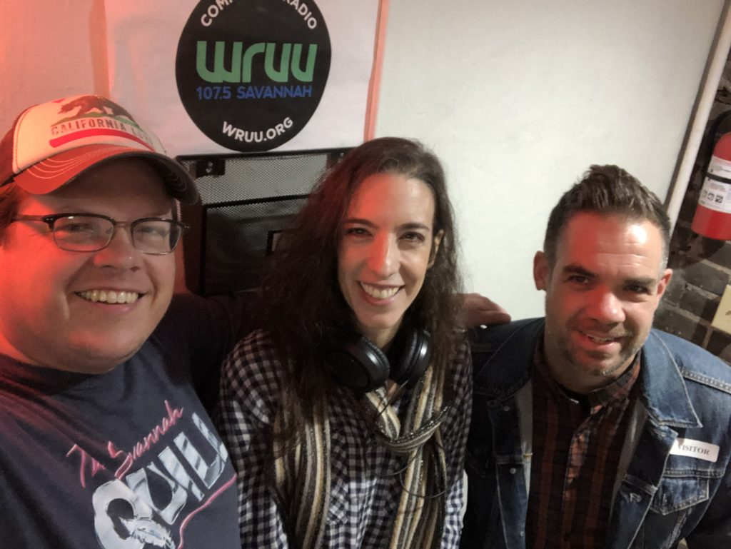 Author and journalist Adam Messer, publisher and 'Listening to Literature' host Leigh E. Rich, and author Brian Ralph of the 'Daybreak' graphic novel and Netflix series at the WRUU studio.
